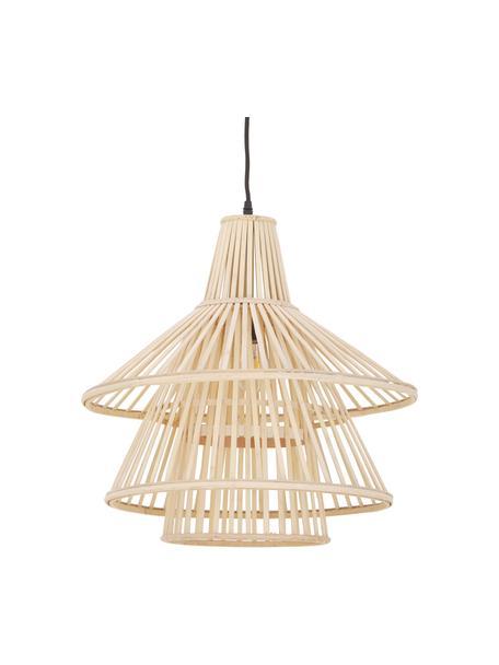 Lámpara de techo de bambú Kamil, Pantalla: bambú, Anclaje: plástico, Cable: cubierto en tela, Beige, negro, Ø 48 x Al 51 cm