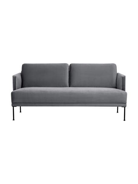 Samt-Sofa Fluente (2-Sitzer) in Dunkelgrau mit Metall-Füßen, Bezug: Samt (Hochwertiger Polyes, Gestell: Massives Kiefernholz, Füße: Metall, pulverbeschichtet, Samt Dunkelgrau, B 166 x T 85 cm