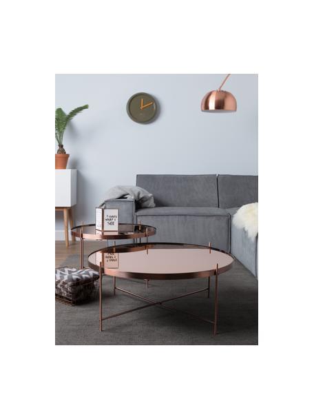 Ronde salontafel Cupid met glazen tafelblad, Frame: verkoperd metaal, Tafelblad: glas, Koperkleurig, Ø 83 x H 35 cm