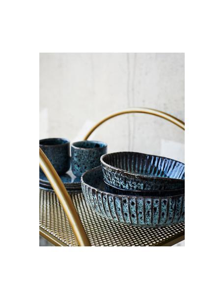 Miska z kamionki Vingo, Kamionka, Niebieskozielony, czarny, Ø 26 x W 8 cm
