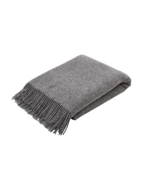 Coperta reversibile in lana color grigio scuro/grigio chiaro con frange Triol, 100% lana, Grigio, grigio chiaro, Larg. 140 x Lung. 200 cm