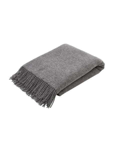 Dubbelzijdige wollen plaid Tirol in donkergrijs/lichtgrijs met franjes, 100% wol, Grijs, lichtgrijs, 140 x 200 cm