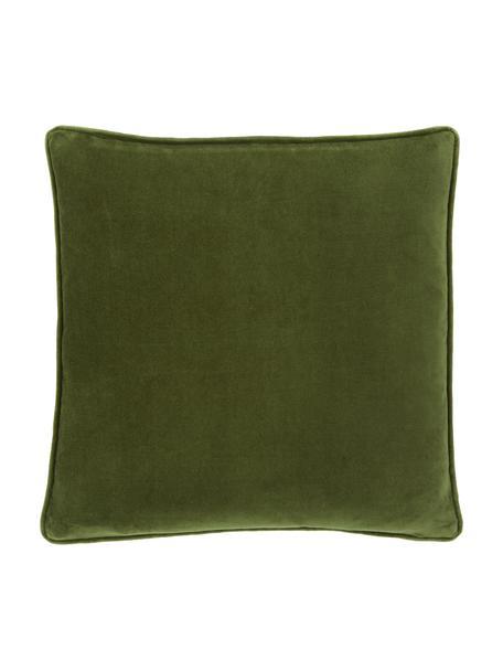 Einfarbige Samt-Kissenhülle Dana in Moosgrün, 100% Baumwollsamt, Moosgrün, 40 x 40 cm