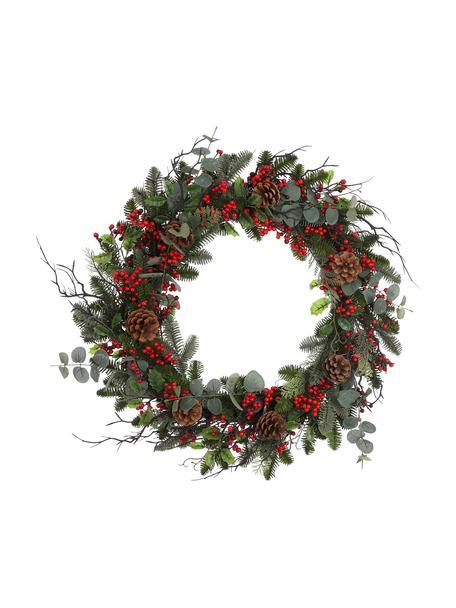 Künstlicher Weihnachtskranz Addy Ø 70 cm, Kunststoff (PVC), Grün, Rot, Ø 70 x H 10 cm