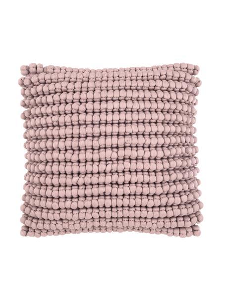 Federa arredo con palline di tessuto rosa cipria Iona, Retro: 100% cotone, Rosa, Larg. 45 x Lung. 45 cm