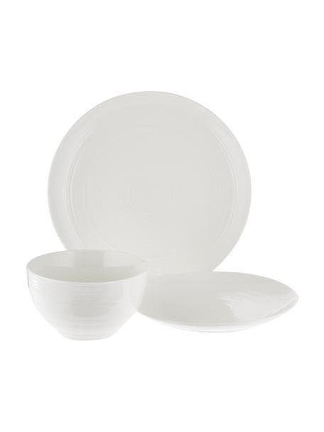 Set stoviglie con superficie strutturata Darby 12 pz, New bone china, Bianco, Set in varie misure