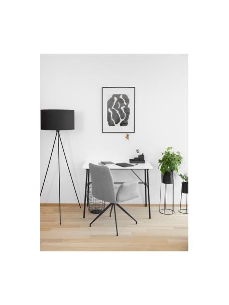 Scrivania bianca Pascal, Gambe: metallo verniciato a polv, Bianco, nero, Larg. 100 x Prof. 55 cm
