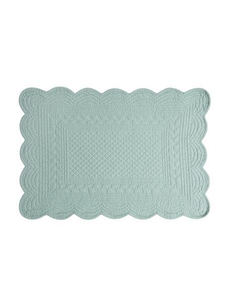 Baumwoll-Tischsets Boutis in Salbeigrün, 2 Stück, 100% Baumwolle, Salbeigrün, 49 x 34 cm