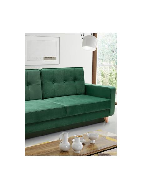 Divano letto 2 posti in tessuto verde con contenitore Tokio, Rivestimento: 100% poliestere, Grigio, Larg. 228 x Prof. 89 cm