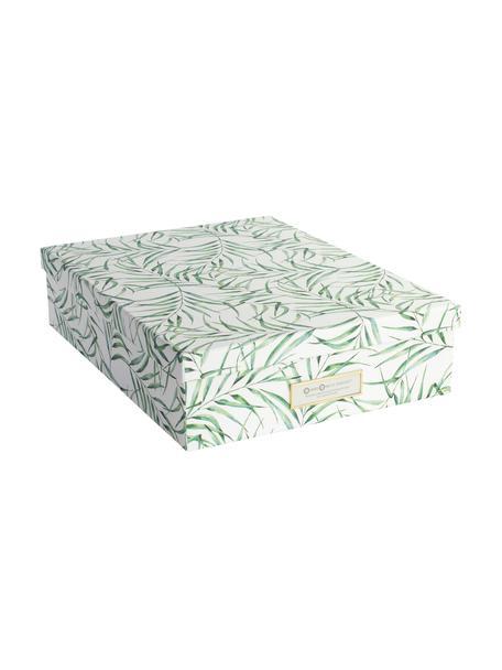 Scatola con coperchio Breeze, Cartone solido e laminato, Bianco, verde, Larg. 35 x Alt. 9 cm