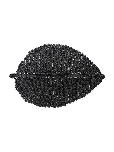 Tovaglietta in fibra naturale color nero Isla, Alghe colorate, Nero, Larg. 50 x Lung. 34 cm
