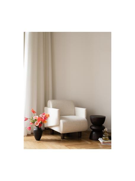 Bouclé loungefauteuil Coco in crèmewit met houten poten, Bekleding: bouclé (100% polyester), Poten: massief gelakt beukenhout, Bouclé beige, 92 x 79 cm