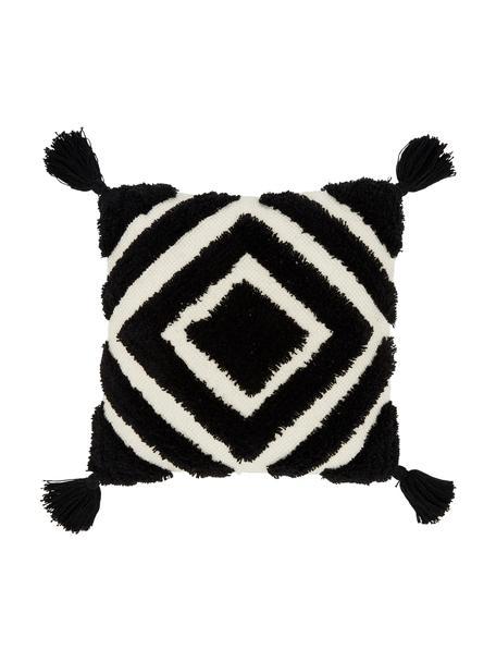 Kissenhülle Karina mit Hoch-Tief-Struktur in Schwarz/Cremeweiß, 100% Baumwolle, Cremeweiß, Schwarz, 45 x 45 cm