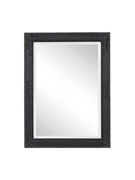 Eckiger Wandspiegel Miro mit schwarzem Paulowniaholzrahmen, Rahmen: Paulowniaholz, beschichte, Spiegelfläche: Spiegelglas, Schwarz, 62 x 82 cm
