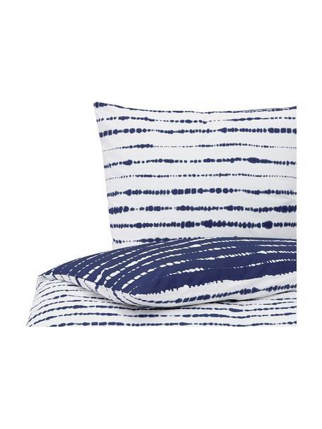 Dwustronna pościel z organicznego perkalu z wzorem tie-dye Remi, Niebieski, biały, 135 x 200 cm + 1 poduszka 80 x 80 cm