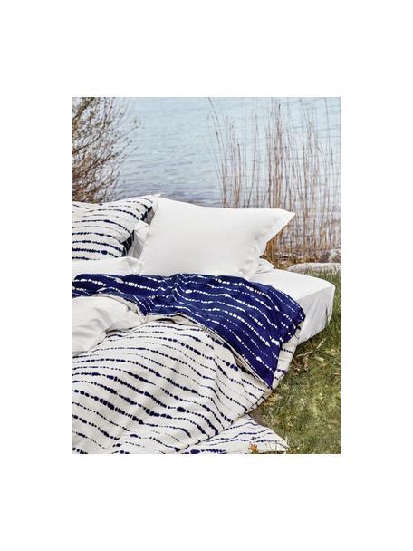Perkal-Wendebettwäsche Remi aus Bio-Baumwolle mit Tie-Dye-Print, Webart: Perkal Fadendichte 180 TC, Blau,Weiß, 135 x 200 cm + 1 Kissen 80 x 80 cm