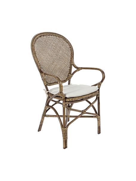 Krzesło z podłokietnikami z rattanu Edelina, Stelaż: rattan, melamina powlekan, Tapicerka: bawełna, Brązowy, kremowobiały, S 55 x G 62 cm