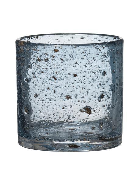 Waxinelichthouder Mina, Glas, Blauw, Ø 11 x H 12 cm