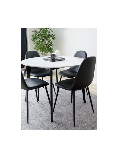 Runder Esstisch Vojens mit weißer Tischplatte, Tischplatte: Mitteldichte Holzfaserpla, Beine: Gummibaumholz, Weiß, Ø 105 x H 75 cm