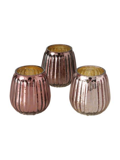 Komplet świeczników Alisa, 3 elem., Szkło, Odcienie różowego, S 9 x W 9 cm