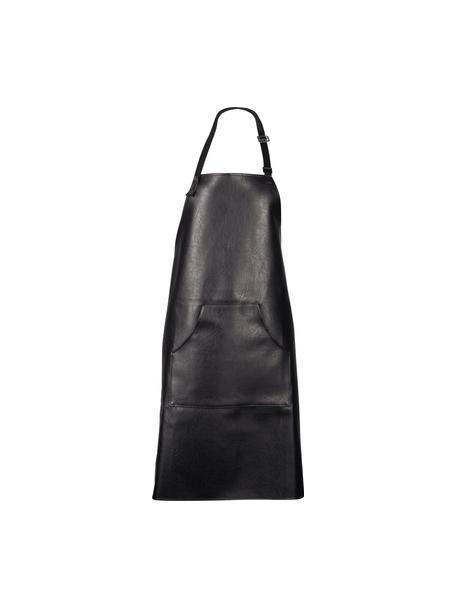Delantal en look cuero Jakob, Poliuretano en aspecto cuero, Negro, An 82 x L 90 cm