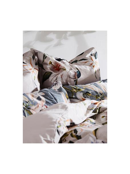 Baumwollsatin-Kopfkissenbezüge Flori in Grau mit Blumen-Print, 2 Stück, Webart: Satin Fadendichte 210 TC,, Vorderseite: Blau, Cremeweiß Rückseite: Blau, 40 x 80 cm