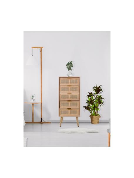 Ladekast Cayetana van hout, Frame: gefineerd MDF, Handvatten: metaal, Poten: gelakt bamboehout, Bruin, 42 x 101 cm