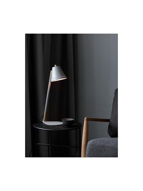 Lampa biurkowa w stylu retro Pine, Szary, złoty, S 15 x W 47 cm