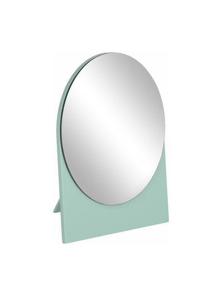 Runder Kosmetikspiegel Mica mit grünem Holzrahmen, Rahmen: Mitteldichte Holzfaserpla, Spiegelfläche: Spiegelglas, Grün, 17 x 20 cm