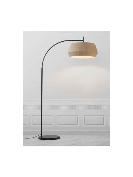 Lámpara arco grande Dicte, Pantalla: tela, Cable: plástico, Beige, negro, An 53 x Al 180 cm
