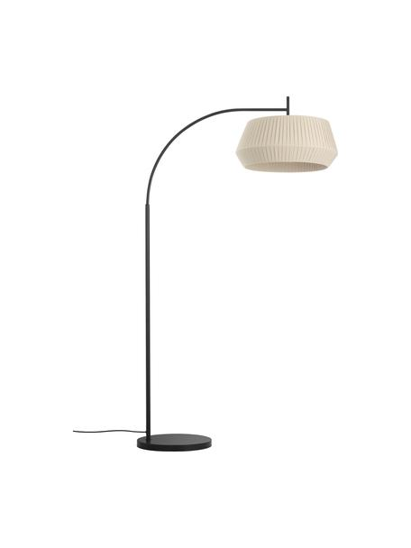 Lampa podłogowa w kształcie łuku z kloszem z plisowanej tkaniny Dicte, Beżowy, czarny, S 104 x W 180 cm