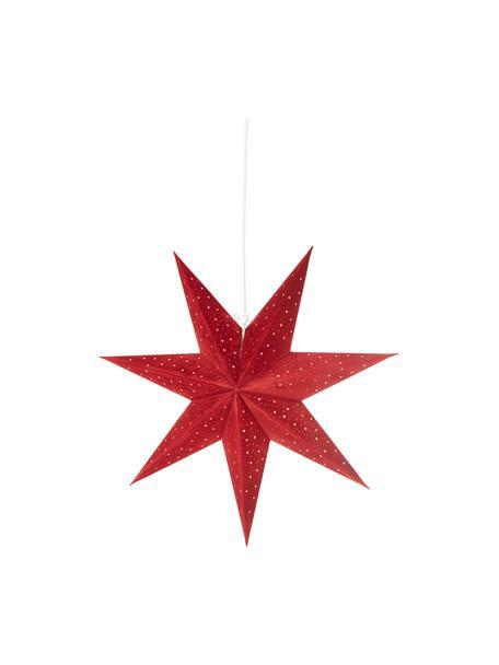 Estrella navideña de terciopelo Orby, Papel cubierto de terciopelo, Rojo, dorado, Ø 45 cm