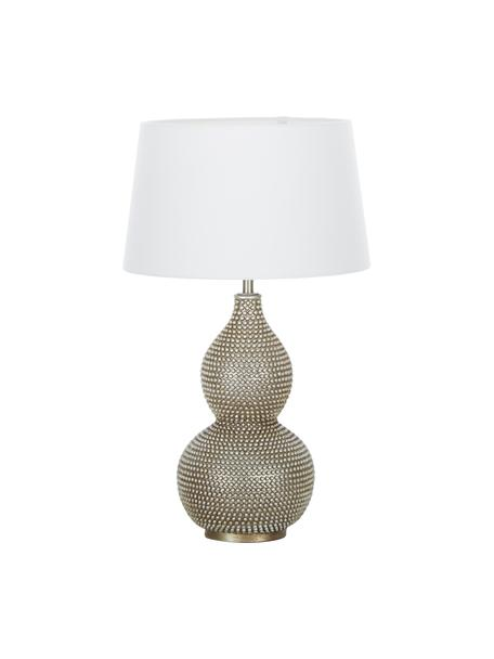 Boho tafellamp Lofty, Lampvoet: gecoat metaal, Lampenkap: polyester, Wit, Ø 33 x H 58 cm