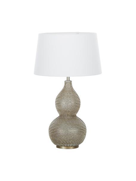 Große Tischlampe Lofty mit Antik-Finish, Lampenschirm: Polyester, Lampenfuß: Metall, beschichtet, Weiß, Ø 33 x H 58 cm