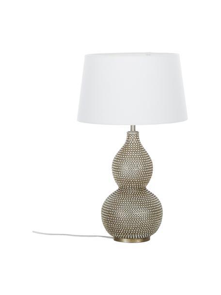 Lámpara de mesa grande Lofty, estilo vintage, Pantalla: poliéster, Cable: plástico, Blanco, Ø 33 x Al 58 cm