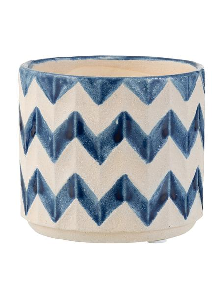 Kleiner Pflanztopf Zigzag, Keramik, Blau, Hellbeige, Ø 13 x H 11 cm