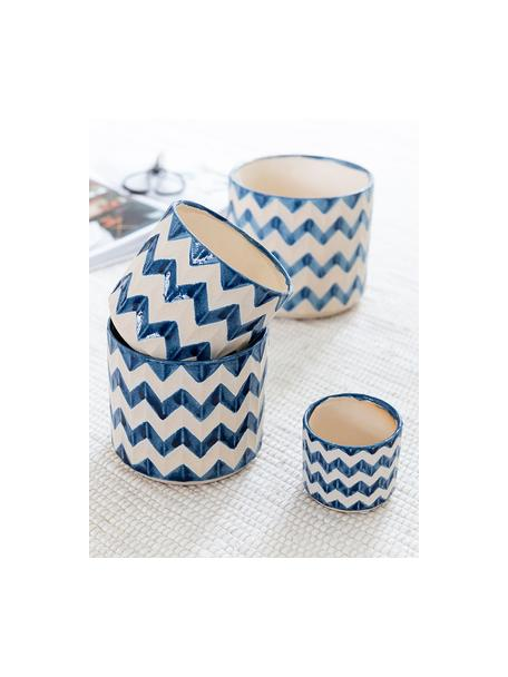 Maceta pequeña Zigzag, Cerámica, Azul, beige claro, Ø 13 x Al 11 cm