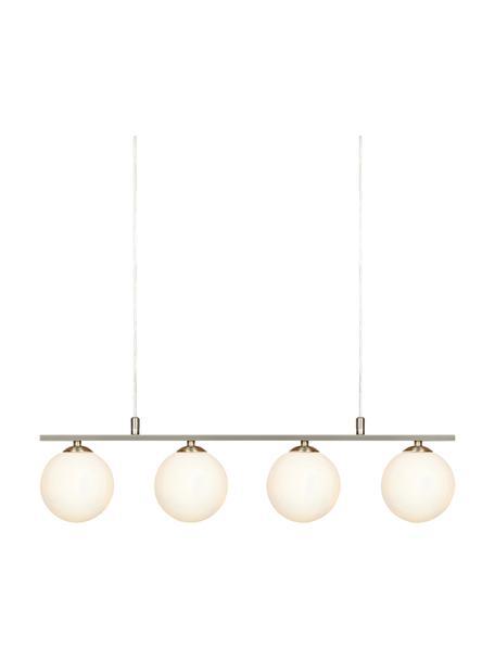Hanglamp Quattro met glazen kappen, Baldakijn: metaal, Opaalwit, zilverkleurig, 66 x 17 cm
