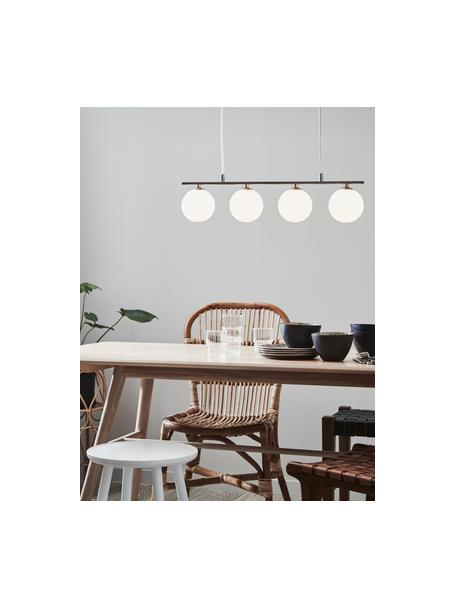 Lámpara de techo de vidrio Quattro, Anclaje: metal, Cable: plástico, Blanco opalino, plateado, An 66 x Al 17 cm