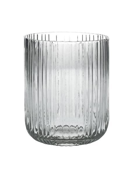 Wassergläser Canise mit Rillenstruktur, 6 Stück, Glas, Transparent, Ø 8 x H 9 cm