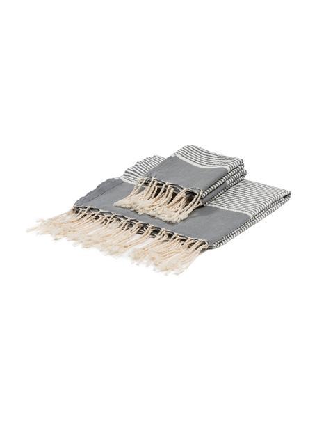 Lichte handdoekenset Copenhague met Lurex rand, 3-delig, Katoen, zeer lichte kwaliteit, 200 g/m² Lurex-draden, Grijs, zilverkleurig, wit, Set met verschillende formaten