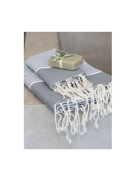 Komplet ręczników z wykończeniem z lurexu  Copenhague, 3 elem., Szary, odcienie srebrnego, biały, Komplet z różnymi rozmiarami