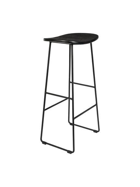 Taburete alto Tangle, Asiento: mader de teca reciclada p, Patas: metal con pintura en polv, Negro, An 40 x Al 80 cm