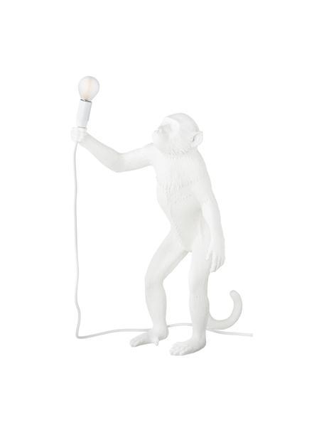Lámpara de mesa para exterior de diseño Monkey, con enchufe, Lámpara: resina, Cable: plástico, Blanco, An 46 x Al 54 cm