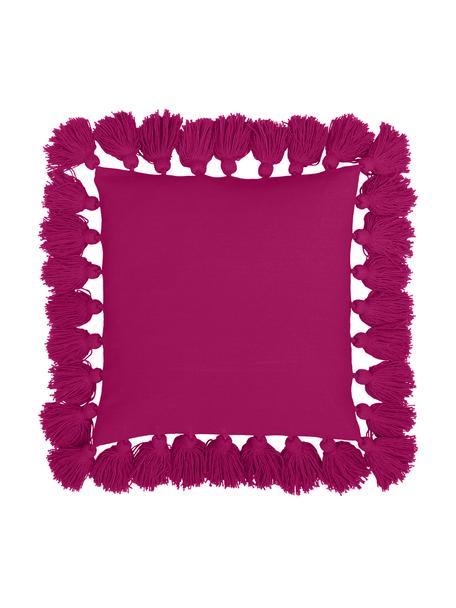 Funda de cojín con borlas Shylo, Algodón, Fucsia, An 40 x L 40 cm