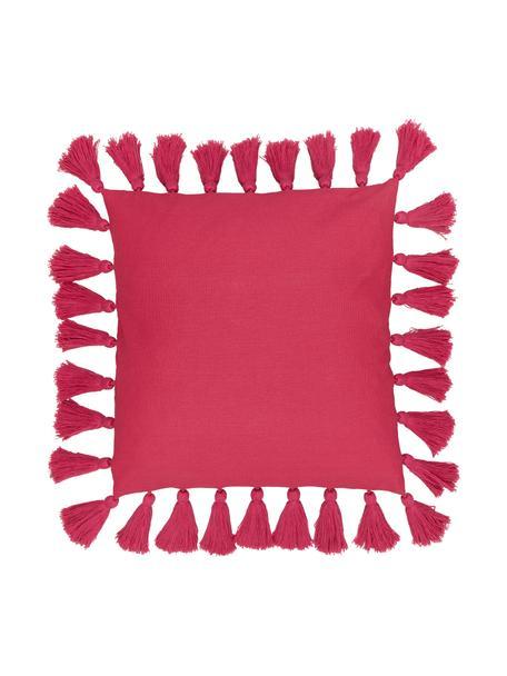 Federa arredo in cotone con nappe Shylo, 100% cotone, Fuksia, Larg. 40 x Lung. 40 cm
