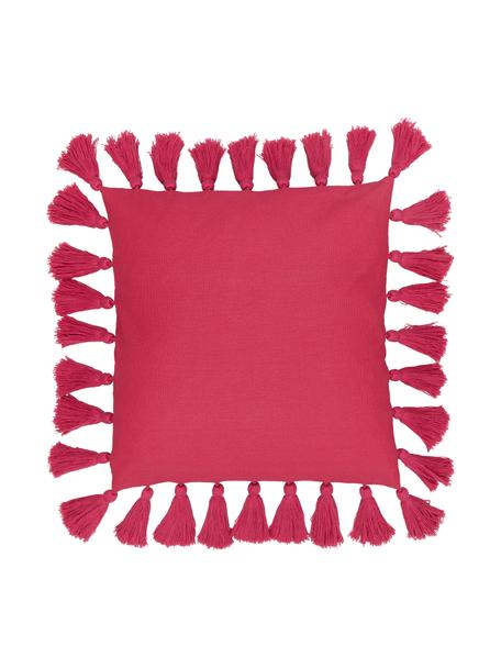 Poszewka na poduszkę z chwostami Shylo, 100% bawełna, Fuksja, S 40 x D 40 cm