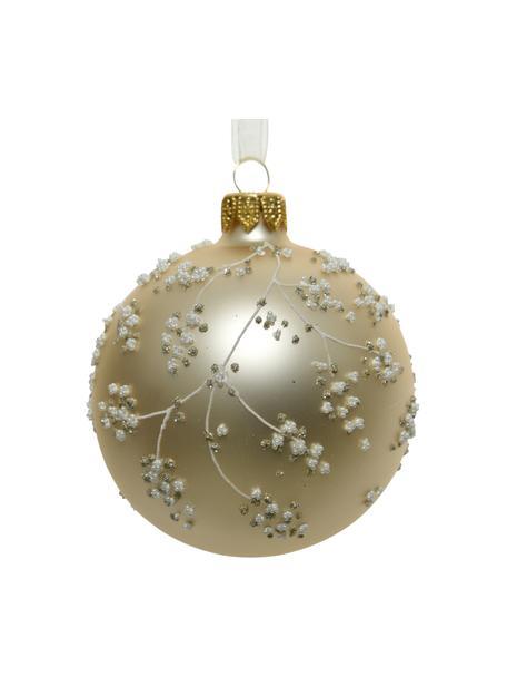 Weihnachtskugeln Florinna Ø 8 cm, 2 Stück, Goldfarben, Weiss, Ø 8 cm