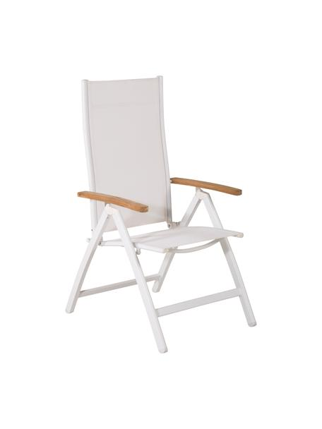 Silla de exterior plegable Panamá, Estructura: aluminio pintado, Reposabrazos: madera de teca, Blanco, An 58 x F 75 cm