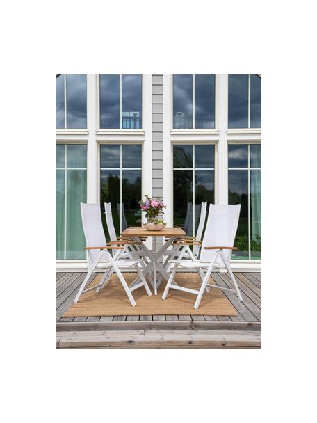 Gartenklappstuhl Panama, Gestell: Aluminium, lackiert, Armlehnen: Teakholz, Weiß, B 58 x T 75 cm